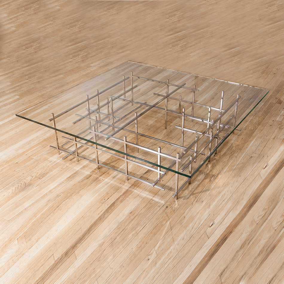 Fran Taubman - Mirror Polished Square Bar Coffee Table