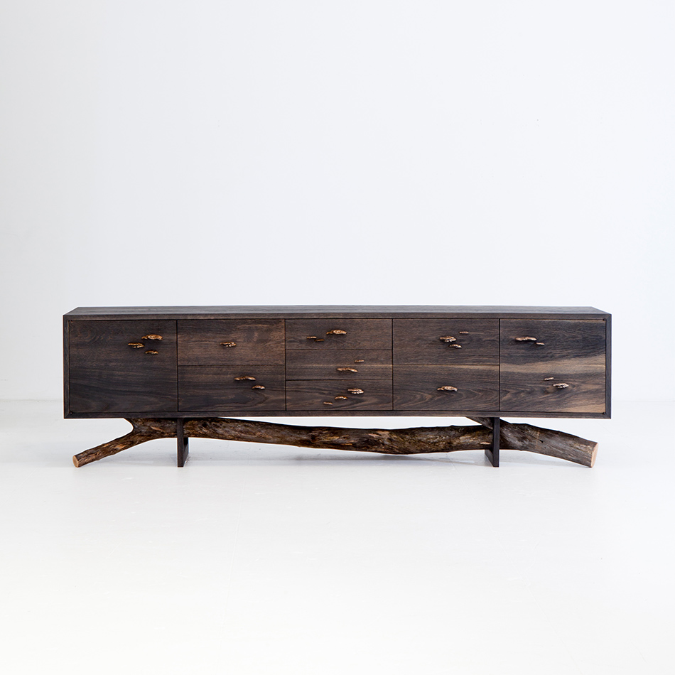 Chris Lehrecke / Gabriella Kiss - Acid ebonized white oak dresser w/ bronze mushroom
