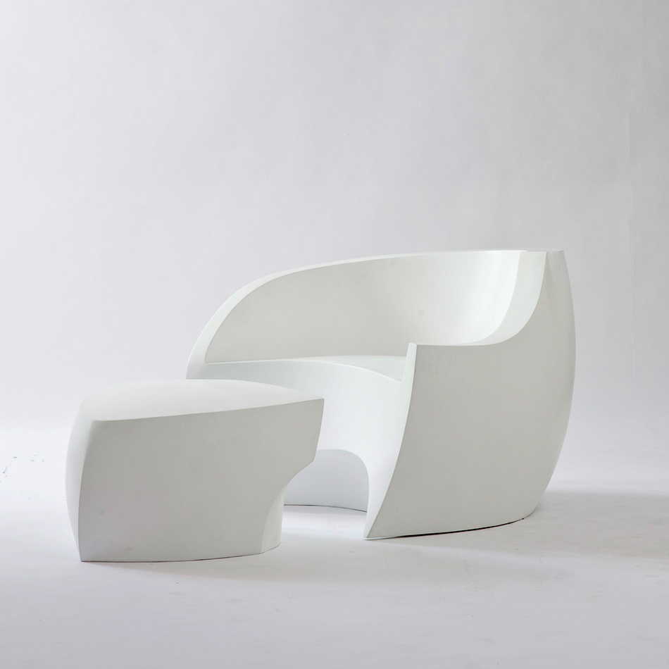 Vladimir Kagan - White Foundry Chair and Ottoman
